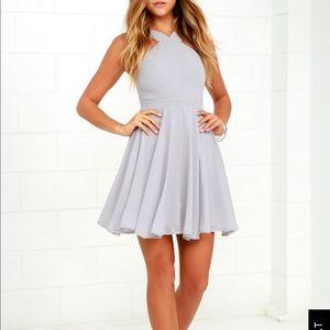 Lulus adorable grey/purple skater dress